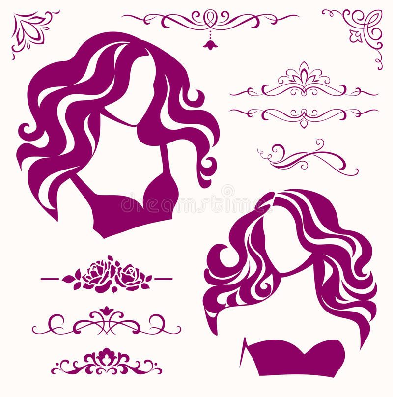 Vector set of calligraphic beauty elements and female icons. Set of female icons for your design
