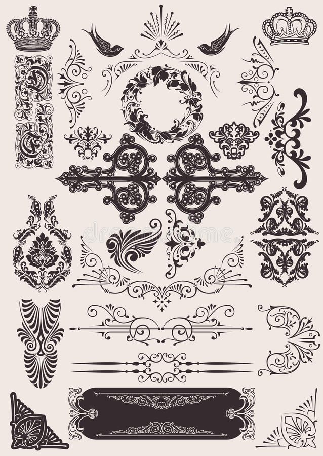 Vector set: calligraphic design elements stock illustration
