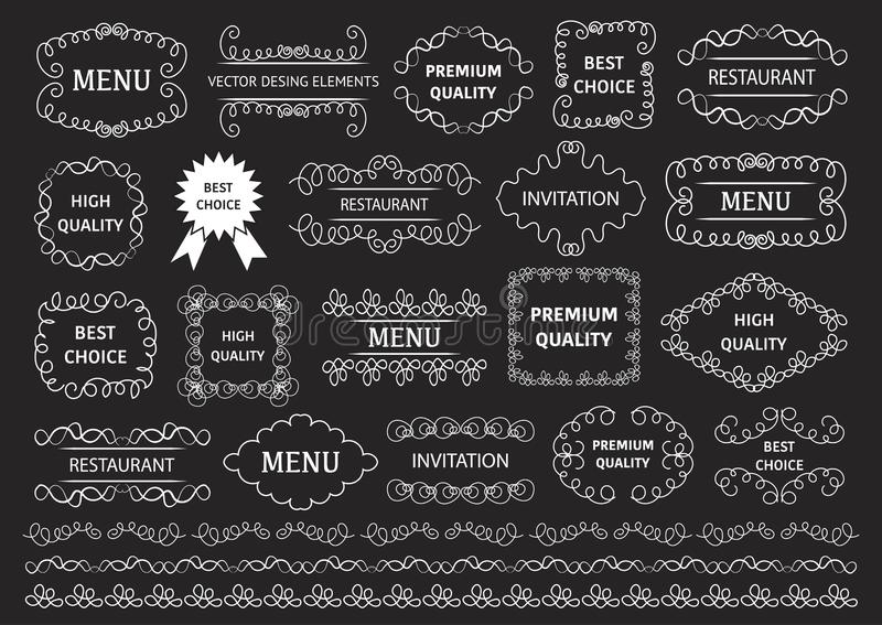 Vector set: calligraphic design elements and page decoration. Decorative swirls or scrolls, vintage frames , flourishes, labels royalty free illustration