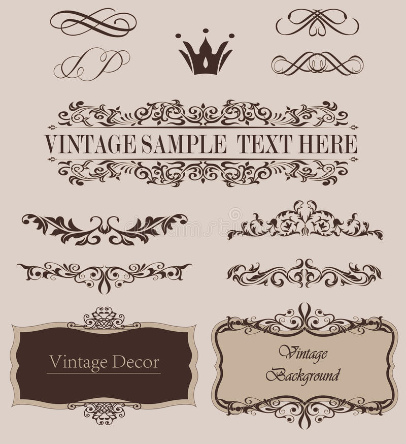 Vector Set of Calligraphic Design Elements and Page Decoration Dividers.  stock illustration