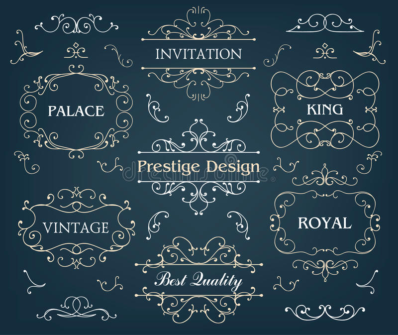 Vector set of calligraphic design elements page royalty free illustration