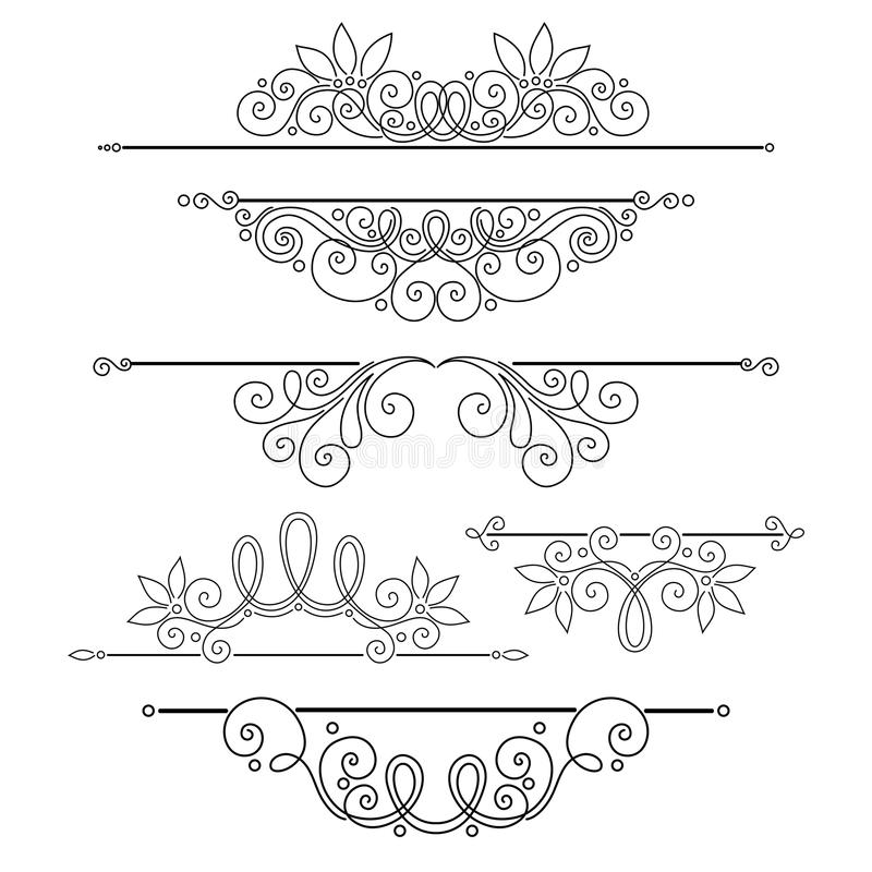 Vector Set of Calligraphic Design Elements and Page Decorations stock illustration
