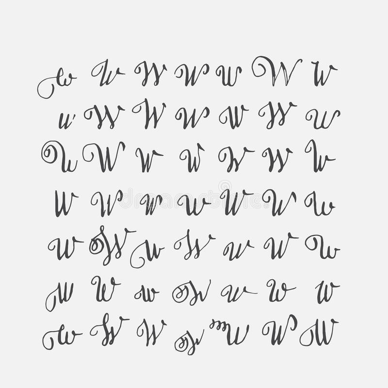 Download Vector Set Of Calligraphic Letters W Handwritten With Pointed Nib Decorated Stock Illustration
