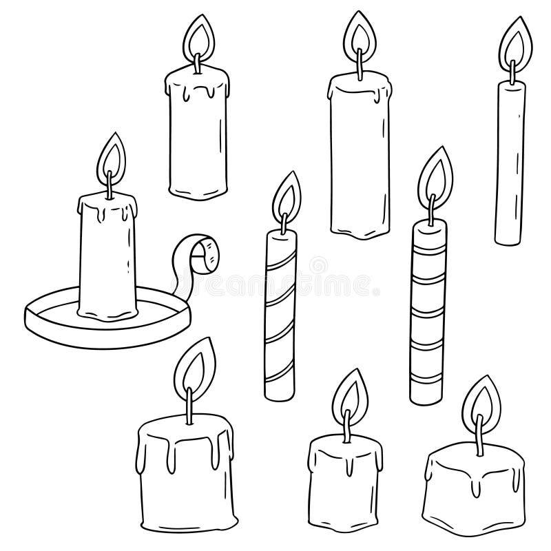 Vector set of candle. Hand drawn cartoon, doodle illustration vector illustration