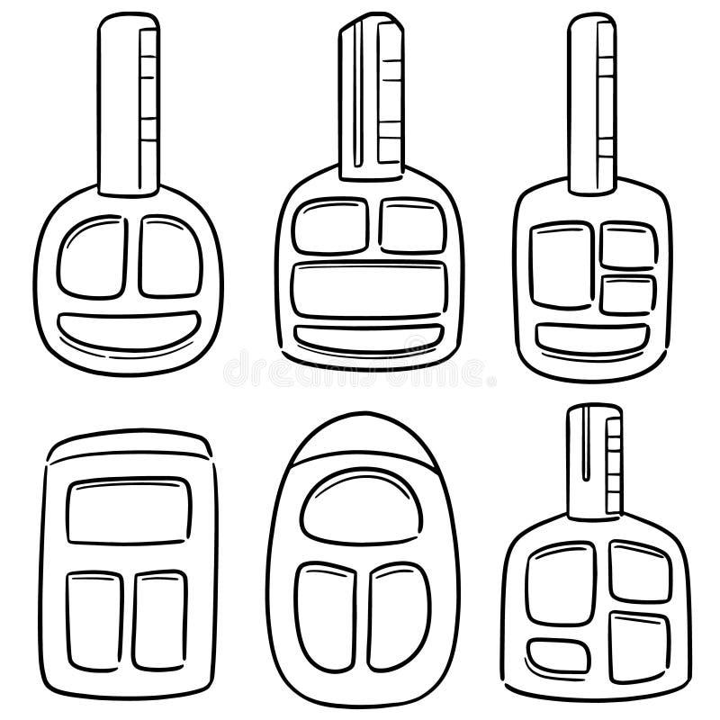 Vector set of car keys. Hand drawn cartoon, doodle illustration stock illustration