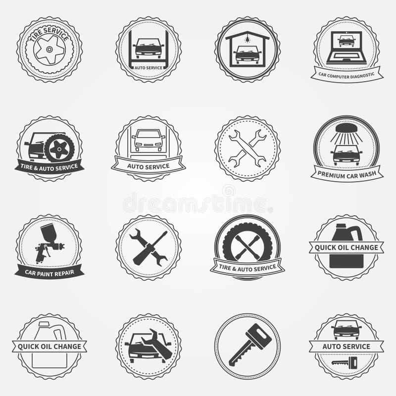 Vector set of car service symbols and badges vector illustration