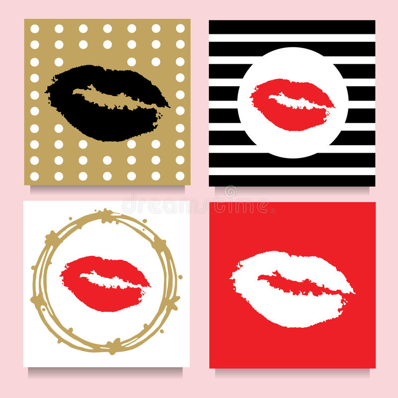 Vector set of cards with lipstic kisses in frames, stripes, dots. Red, Golden,Black, White. vector illustration