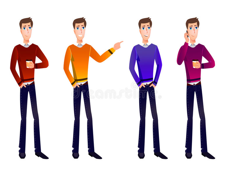VECTOR set of cartoon business characters. vector illustration