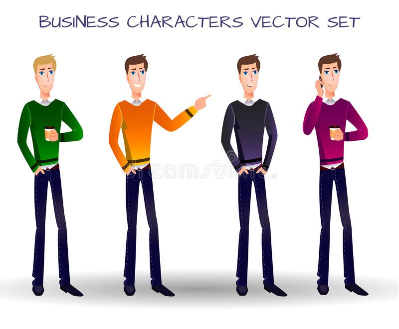 VECTOR set of cartoon business characters. royalty free illustration