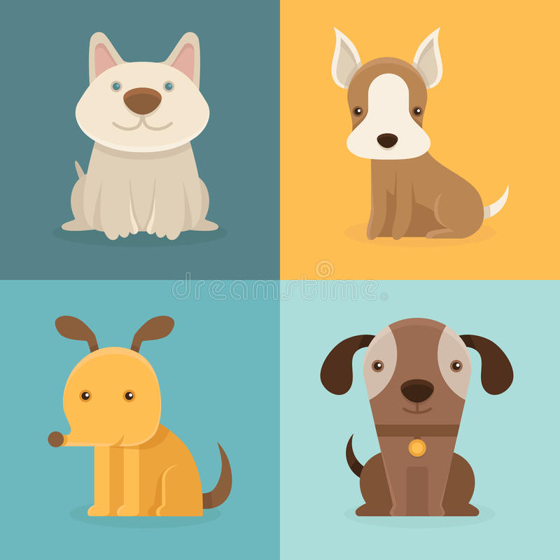 Vector set of cartoon dogs in flat style vector illustration