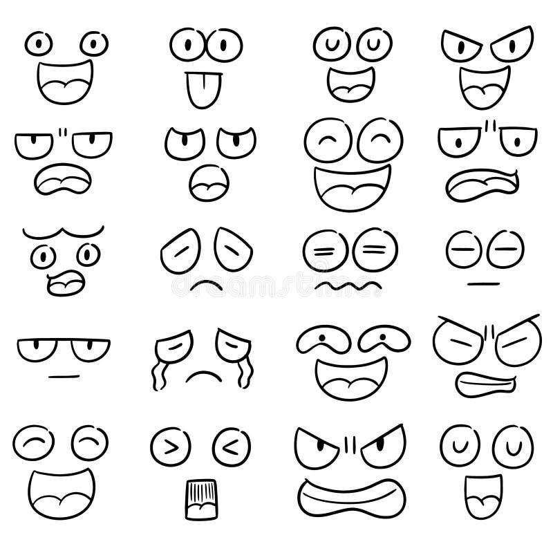 Vector set of cartoon face. Hand drawn cartoon, doodle illustration royalty free illustration