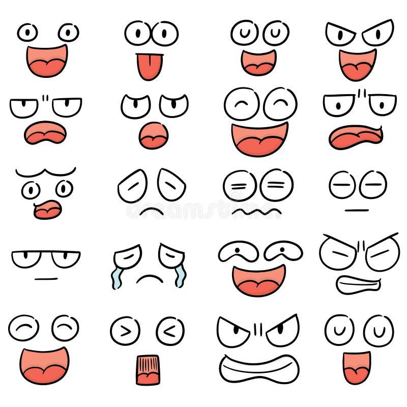 Vector set of cartoon face. Hand drawn cartoon, doodle illustration stock illustration