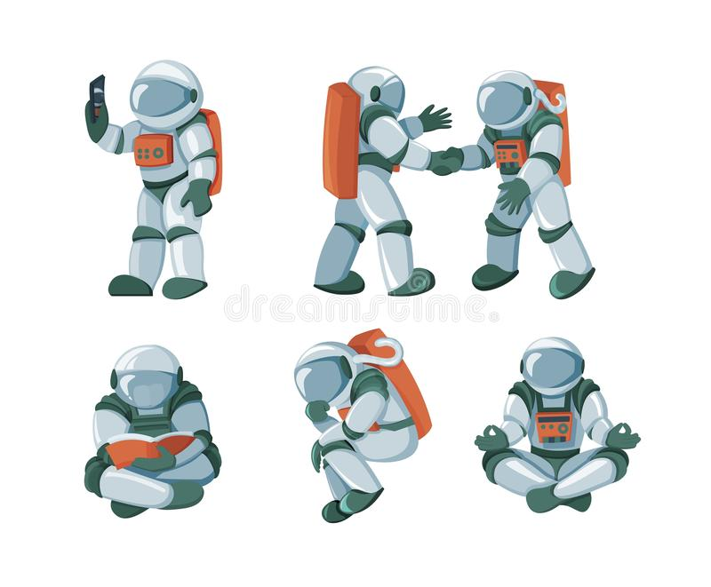 Cartoon spaceman, cosmonaut, spacesuit vector set isolated on white background royalty free illustration