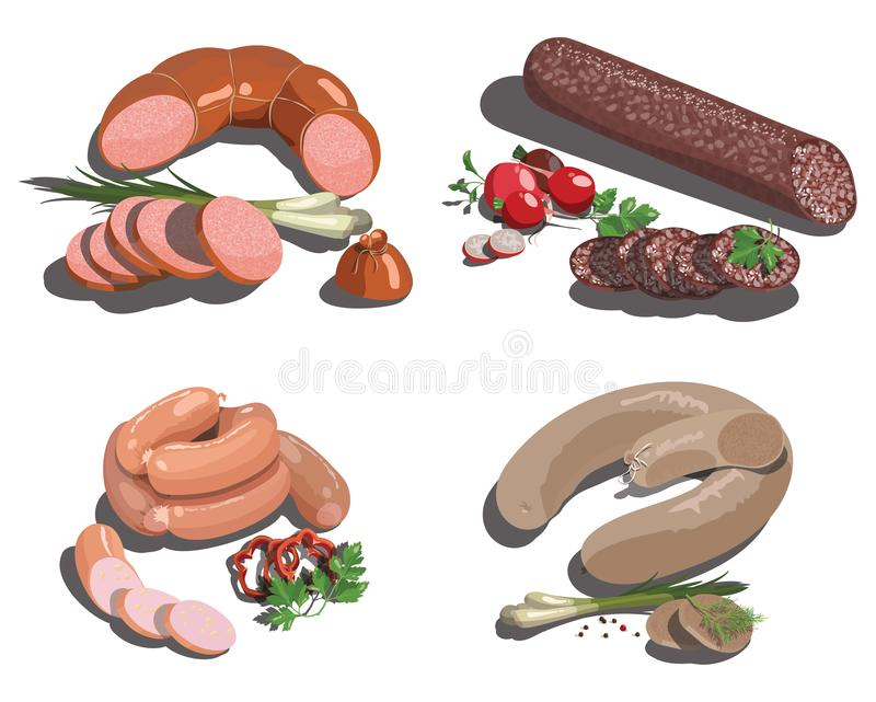 Vector set of cartoon food. Stylized raw meat. Sliced assortment of fresh meat. Pork steaks and tenderloin. Isolated. Vector set of cartoon food. Collection of vector illustration