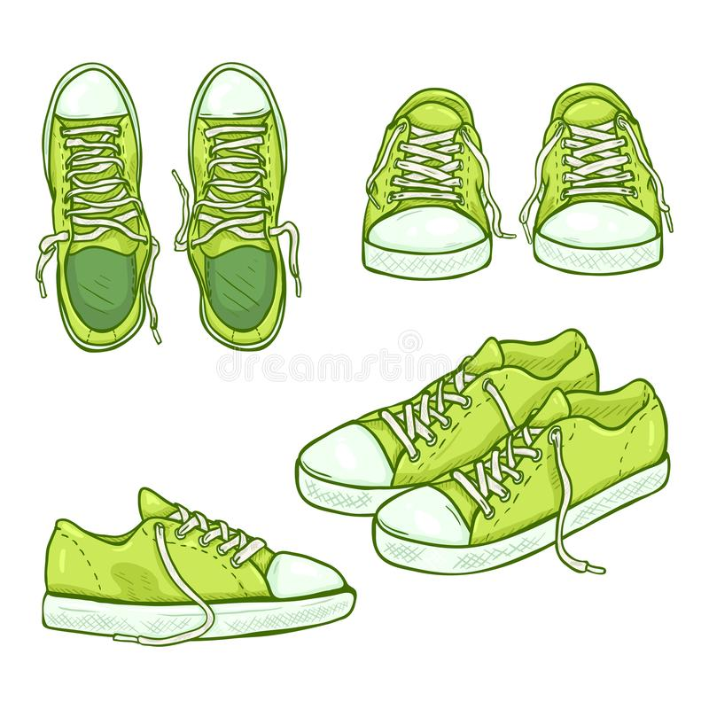 Vector Set of Cartoon Green Gumshoes royalty free stock photos