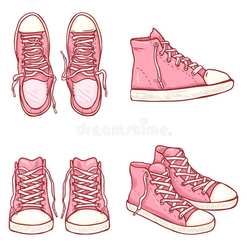 Vector Set of Cartoon High Pink Gumshoes royalty free stock image