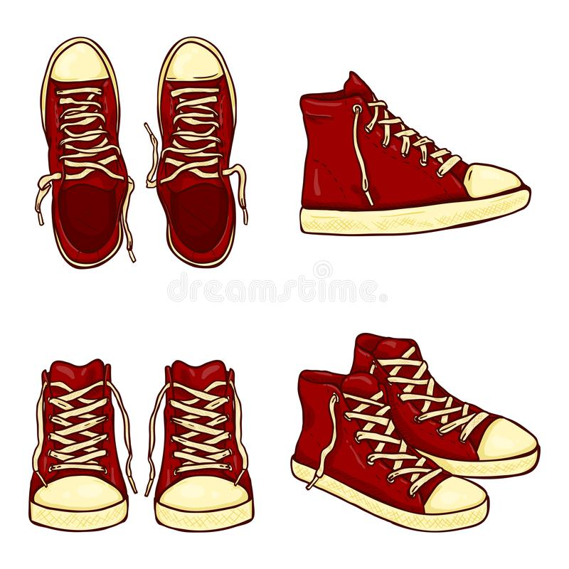 Vector Set of Cartoon High Red Gumshoes royalty free stock images