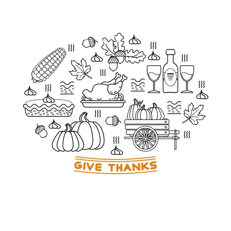Vector set of cartoon icons for Thanksgiving day. royalty free illustration