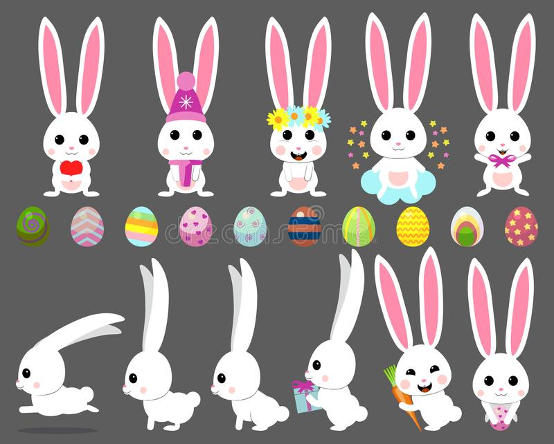 Vector set cartoon illustration of cute rabbit and bunny with carrot, bow, easter egg, heart, chicken, royalty free illustration