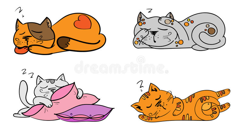 Vector set of cartoon images cute different cats color with actions and emotions. Vector set of cartoon images of cute different cats of different color with vector illustration