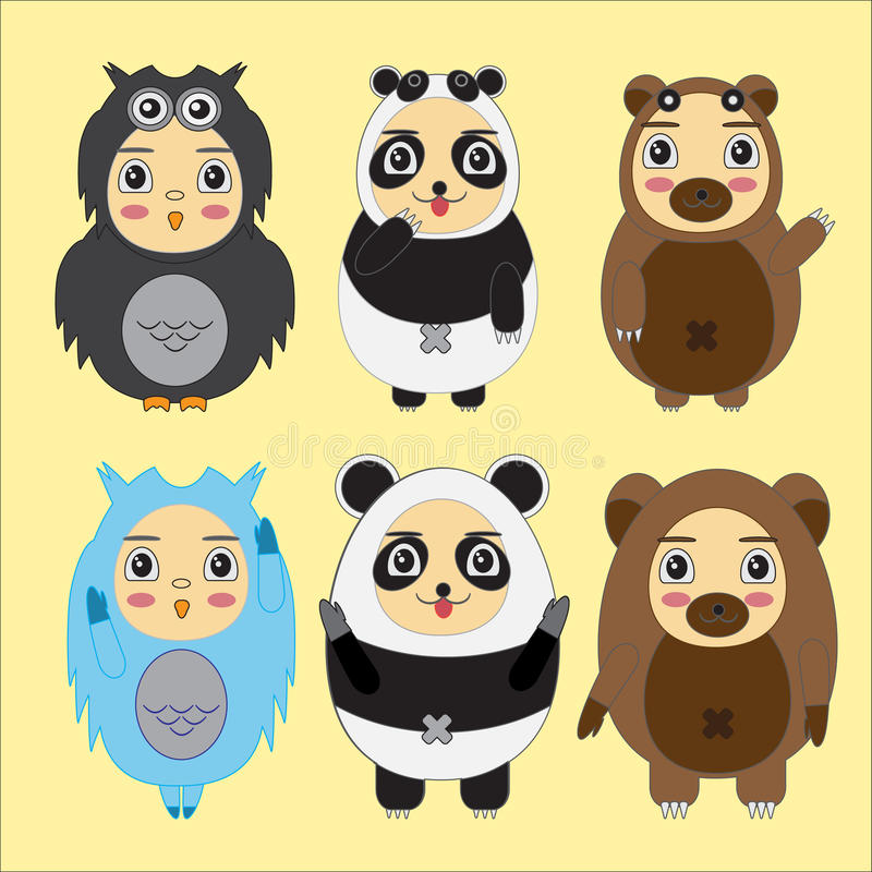 Vector set of cartoon kids in animal costumes. Cartoon icons. Collections of bear, panda,owl vector illustration