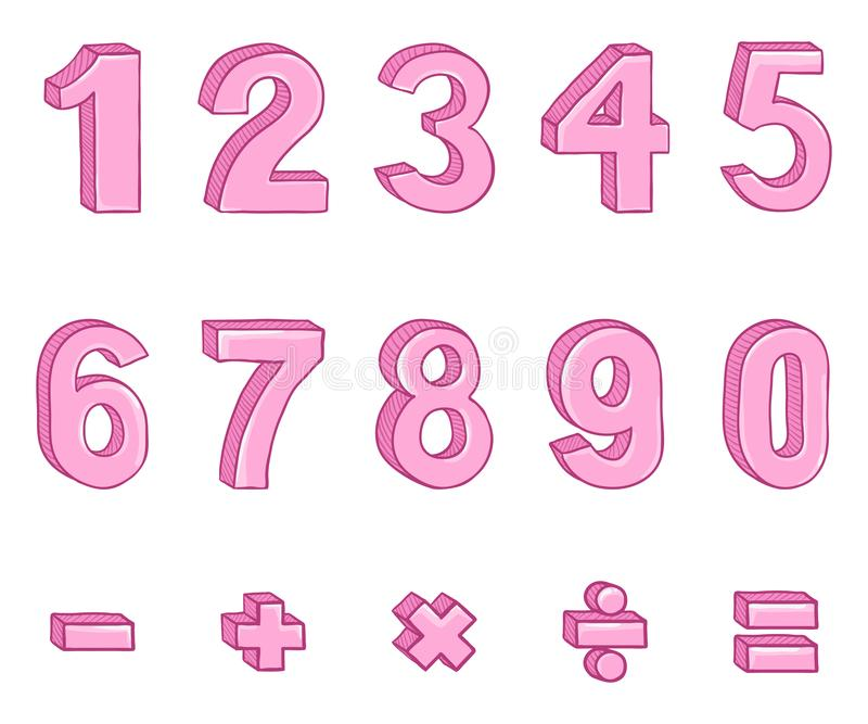 Vector Set of Cartoon Pink Numbers and Mathematical Signs. royalty free illustration