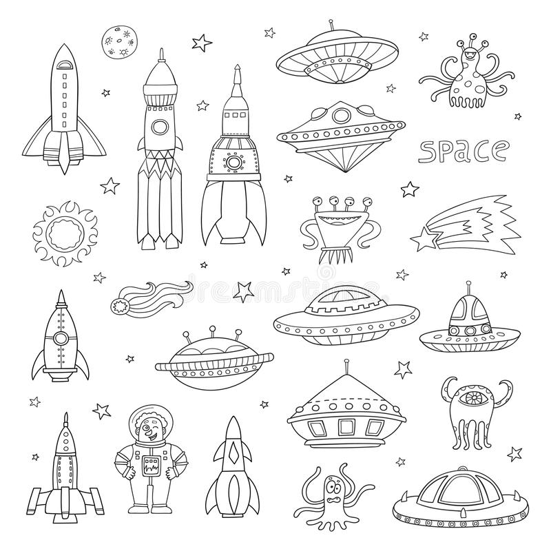 Vector set with cartoon space objects ufo rockets, astronaut, vector illustration