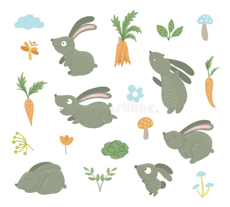 Vector set of cartoon style flat funny rabbits in different poses vector illustration