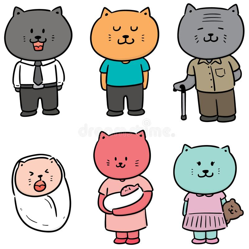 Vector set of cat family vector illustration