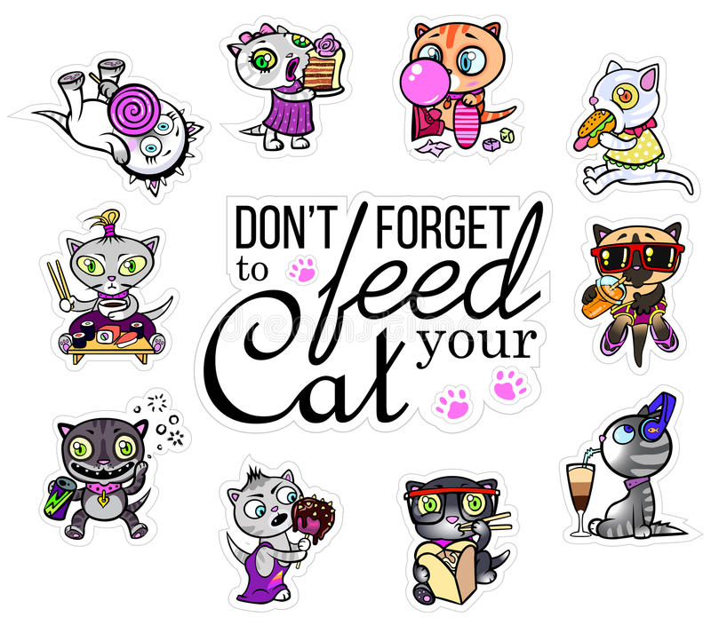 Vector set with cat stickers. Hungry pets. Emoji for chats. royalty free illustration
