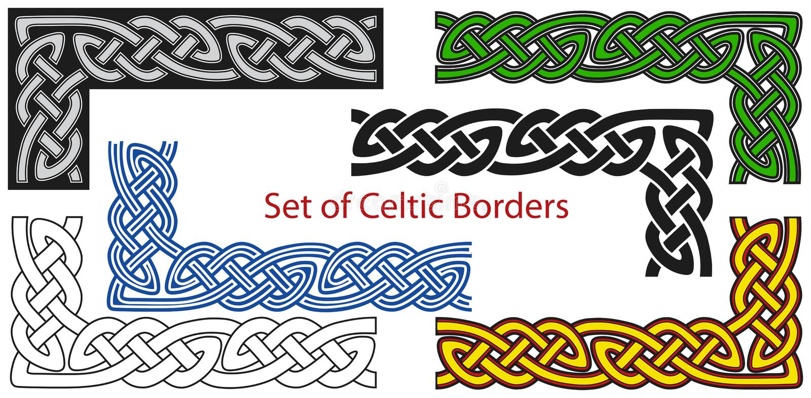 Vector set of Celtic style borders royalty free illustration