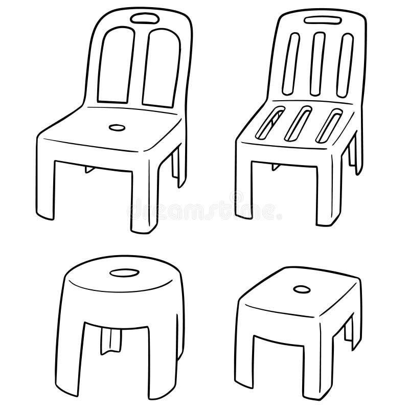 Vector set of chairs. Hand drawn cartoon, doodle illustration stock illustration