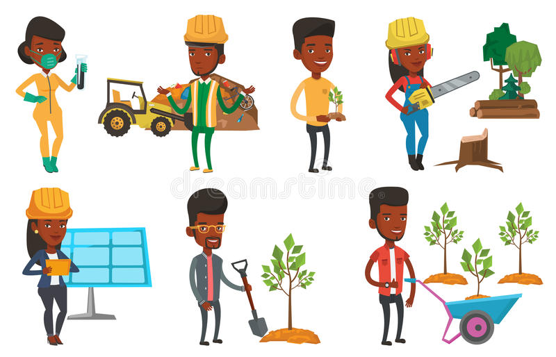 Download Vector Set Of Characters On Ecology Issues. Stock Vector - Illustration of engineer, ecology: 83714136