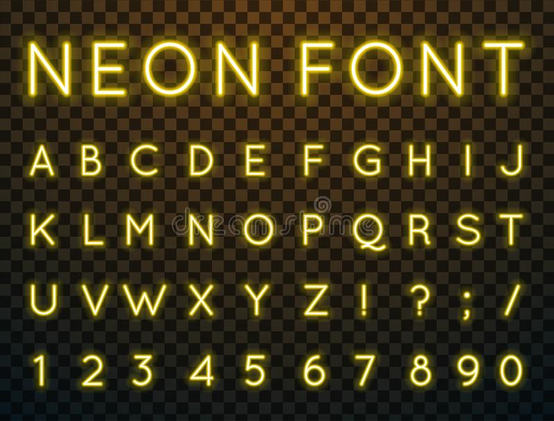 Neon, vector font. Vector set of characters in retro style. Neon font. Alphabet with glow effect. The letters and numbers in the style of techno stock illustration
