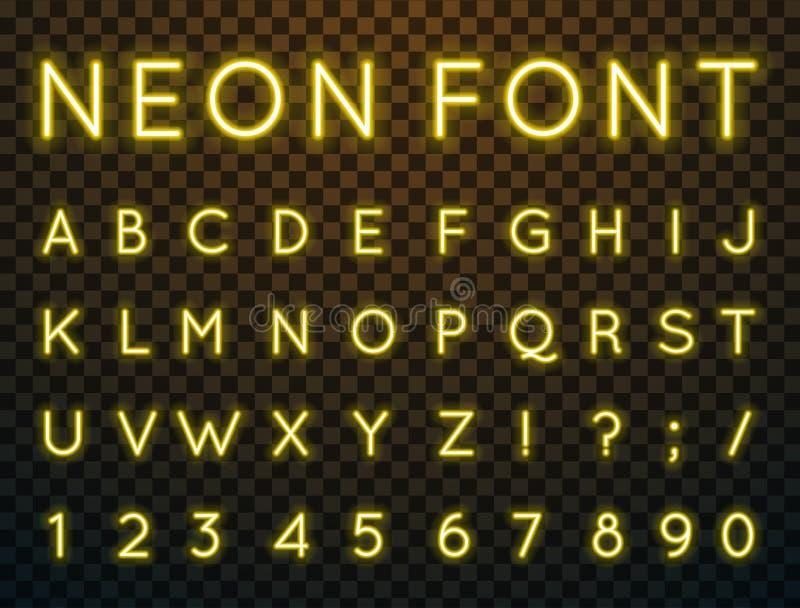 Neon, vector font. stock illustration