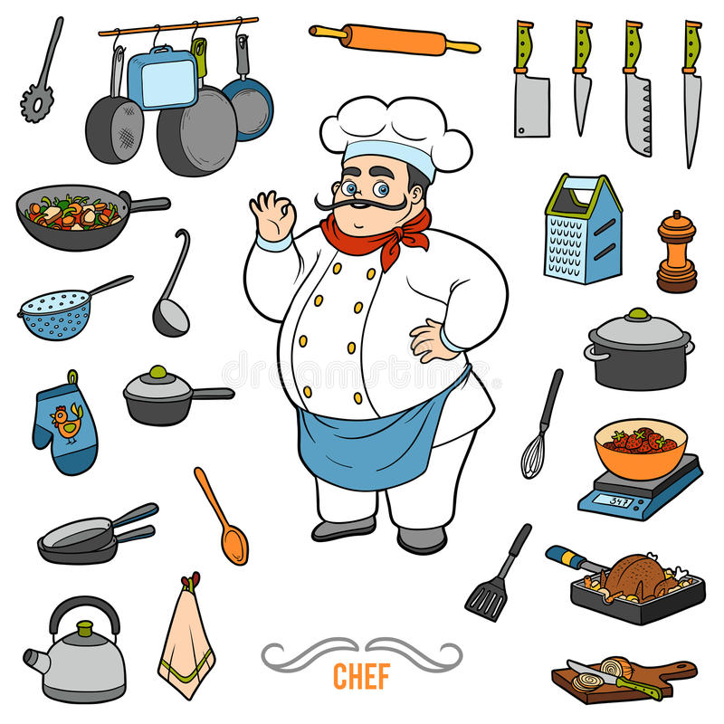 Vector set with chef and objects for cooking. Cartoon sticker se royalty free illustration