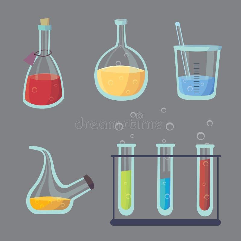 Vector set - chemical test. Flat design chemistry laboratory experiment equipment.  royalty free illustration