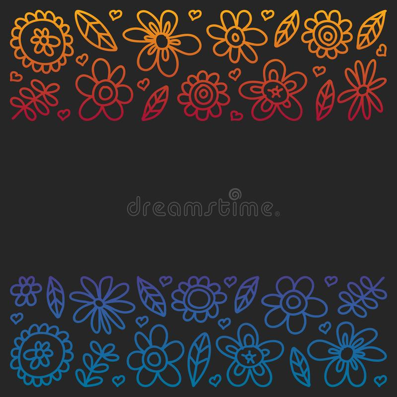 Vector set of child drawing flowers icons in doodle style. Painted, colorful, gradient pictures on a piece of paper on blackboard stock illustration