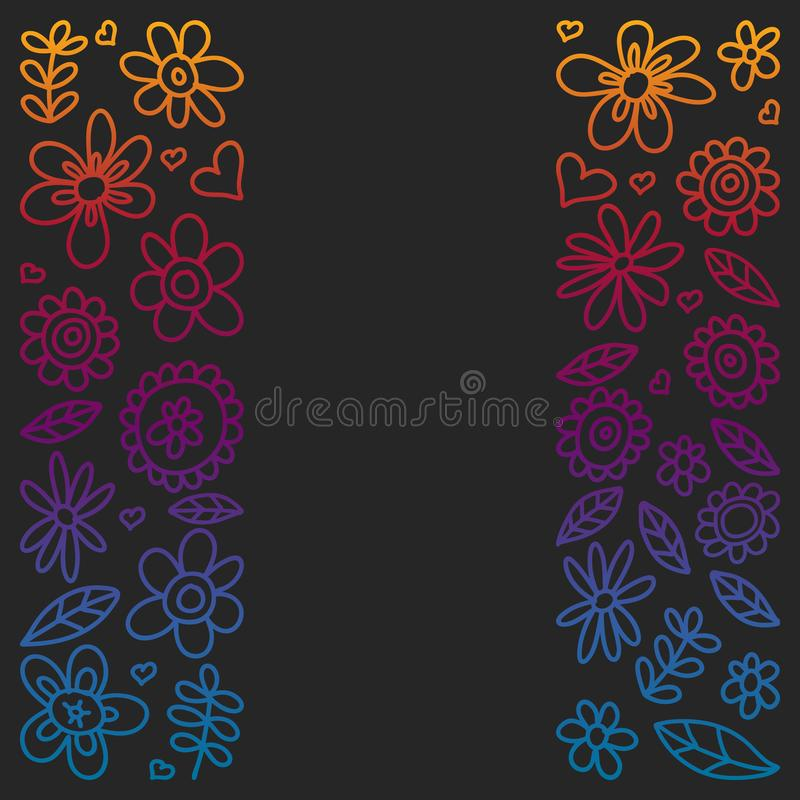 Vector set of child drawing flowers icons in doodle style. Painted, colorful, gradient pictures on a piece of paper on blackboard royalty free illustration