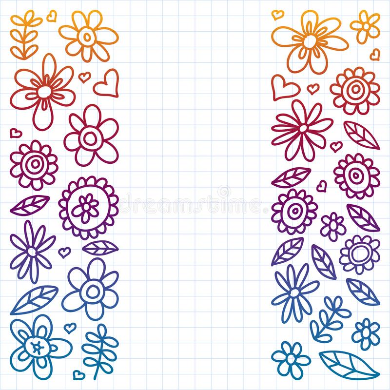 Vector set of child drawing flowers icons in doodle style. Painted, colorful, gradient, on a sheet of checkered paper on a white royalty free illustration