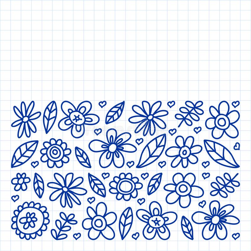 Vector set of child drawing flowers icons in doodle style. Painted, drawn with a pen, on a sheet of checkered paper on a white vector illustration