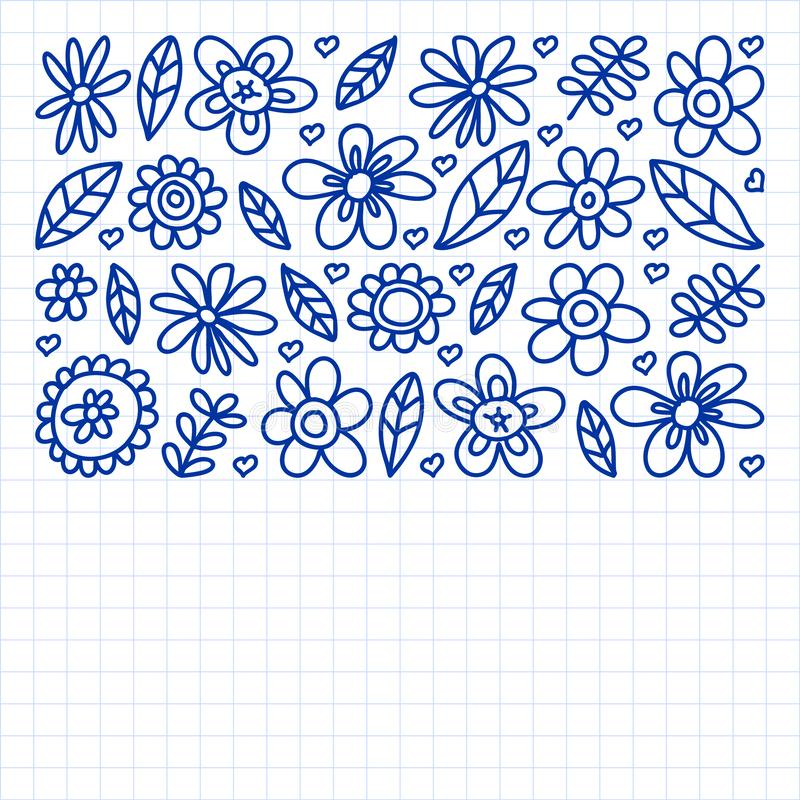 Vector set of child drawing flowers icons in doodle style. Painted, drawn with a pen, on a sheet of checkered paper on a white royalty free illustration