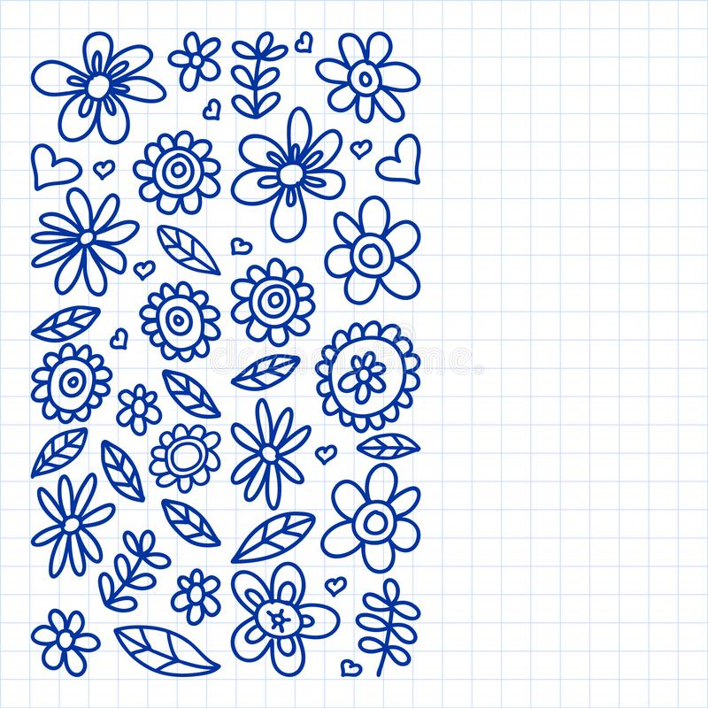 Vector set of child drawing flowers icons in doodle style. Painted, drawn with a pen, on a sheet of checkered paper on a white stock illustration