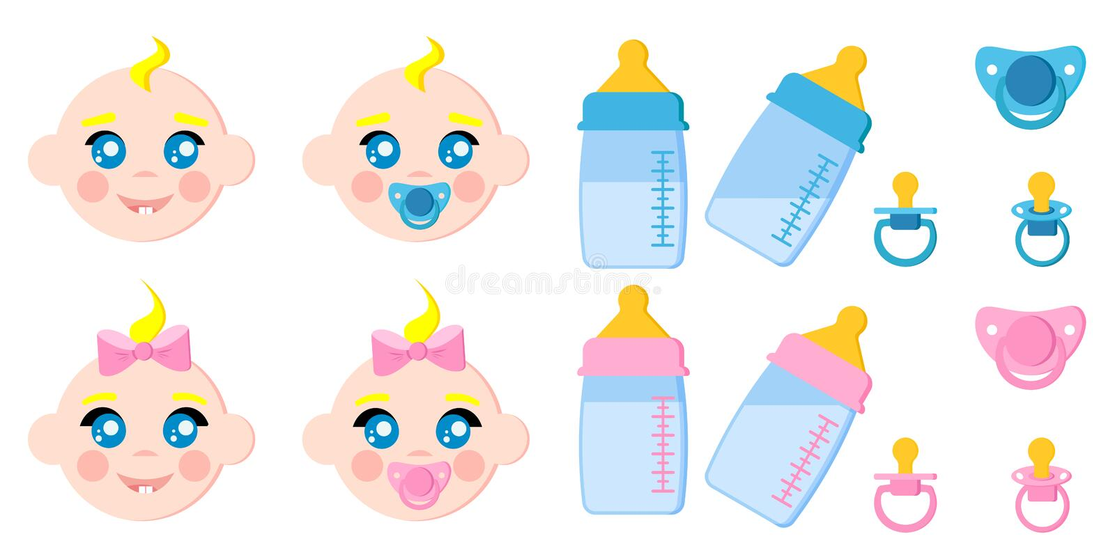 Vector set of children faces icons, baby bottles with milk, pacifiers, baby dummies, blonde boy and girl stock illustration