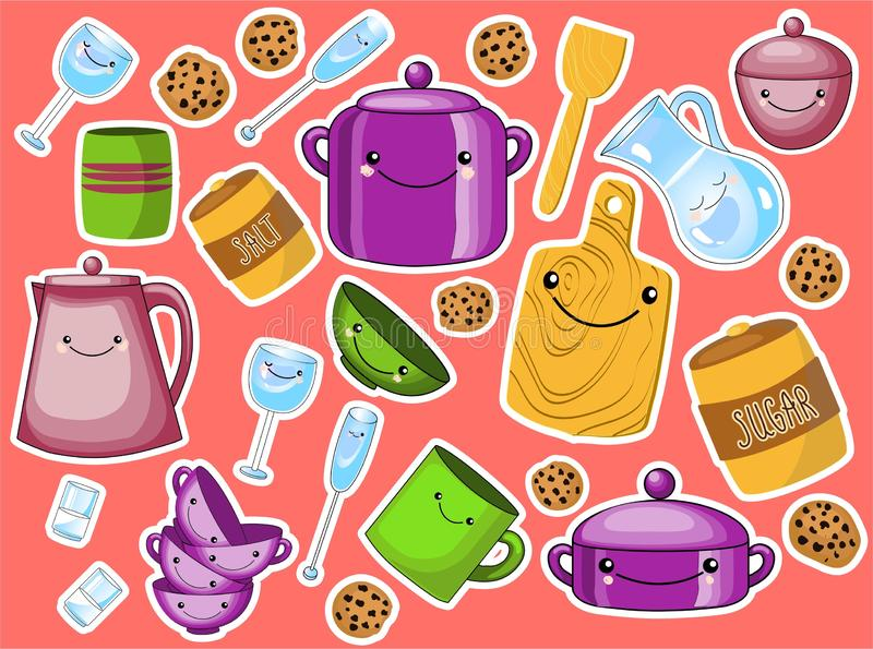 Vector set of children`s kitchen and cooking drawings icons in doodle style stock illustration
