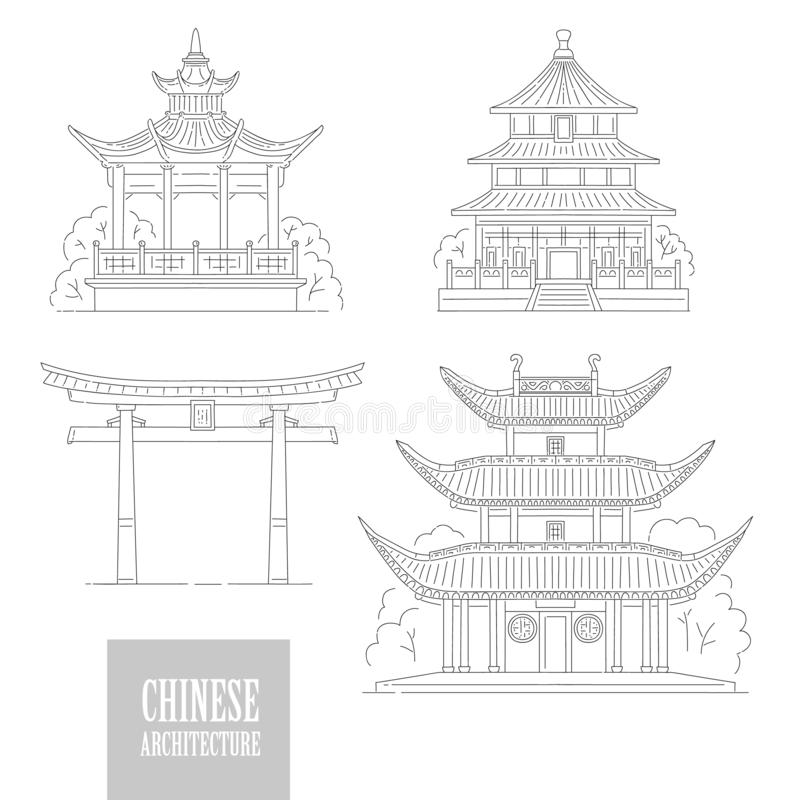 Free Vector Set Chinese Architectural Landmarks. Oriental Architecture Black White Line Art Gate Pagoda And Gazebo Different Stock Images - 134433224