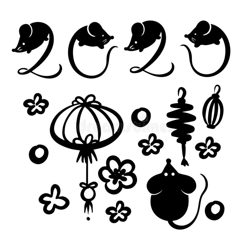Vector set of chinese decorative elements and silgouettes of mice, and 2020 drawn with mouse on each number illustration royalty free illustration