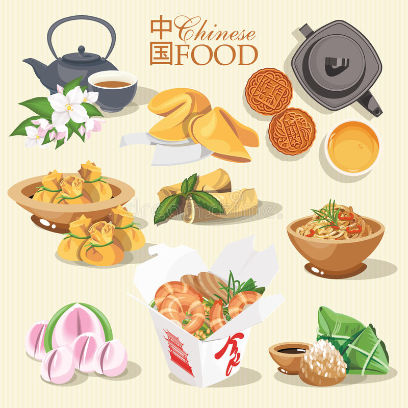 Vector set with chinese food. Chinese street, restaurant or homemade food illustrations for ethnic asian menu. Vector set with chinese food. Chinese street royalty free illustration