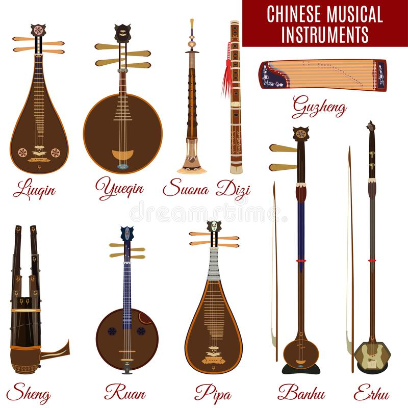 Vector set of chinese musical instruments, flat style. royalty free stock image