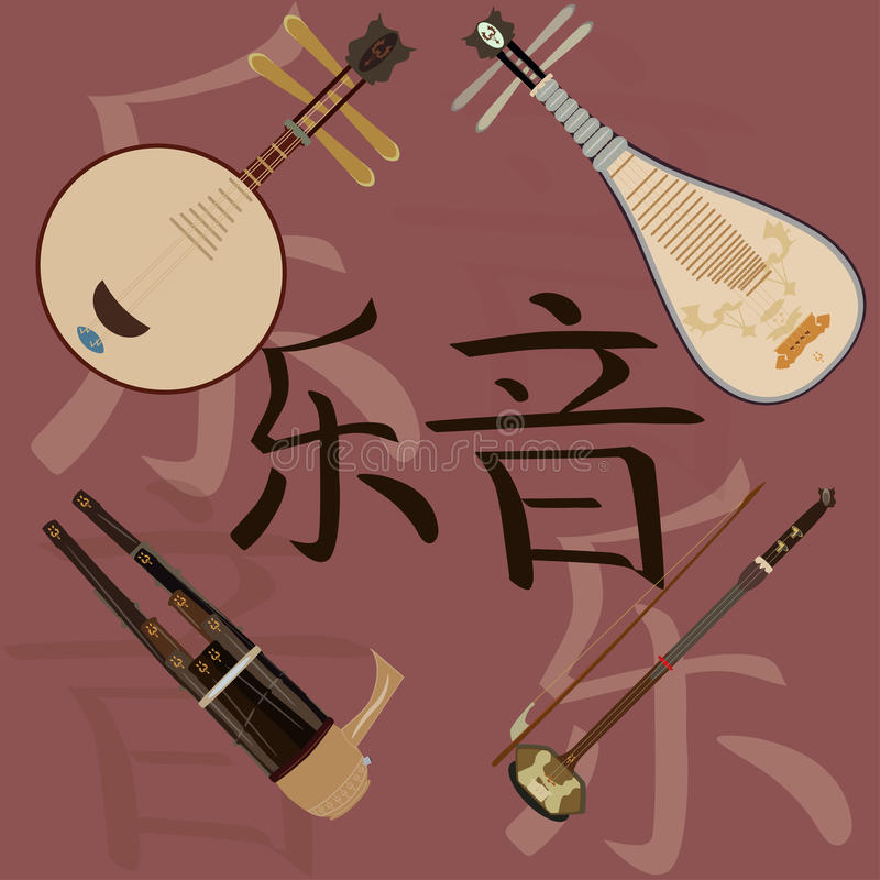 Vector set of chinese musical instruments and music hieroglyphics background stock illustration
